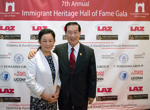 09/26/19 Wesley Bunnell | StaffrrThe Immigrant Heritage Hall of Fame Gala and Induction Ceremony took place on Thursday evening at The Aqua Turf in Southington including two inductees with New Britain ties. Dr. Zulma Toro the President of CCSU and former mayor of New Britain Lucian Pawlak. Angel Lee and inductee Dr. Henry Lee.
