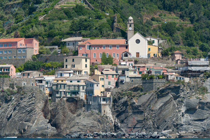 Houses along the cliff in Cinque Terre, Italy