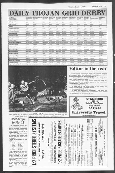 Daily Trojan, Vol. 62, No. 8, October 01, 1970