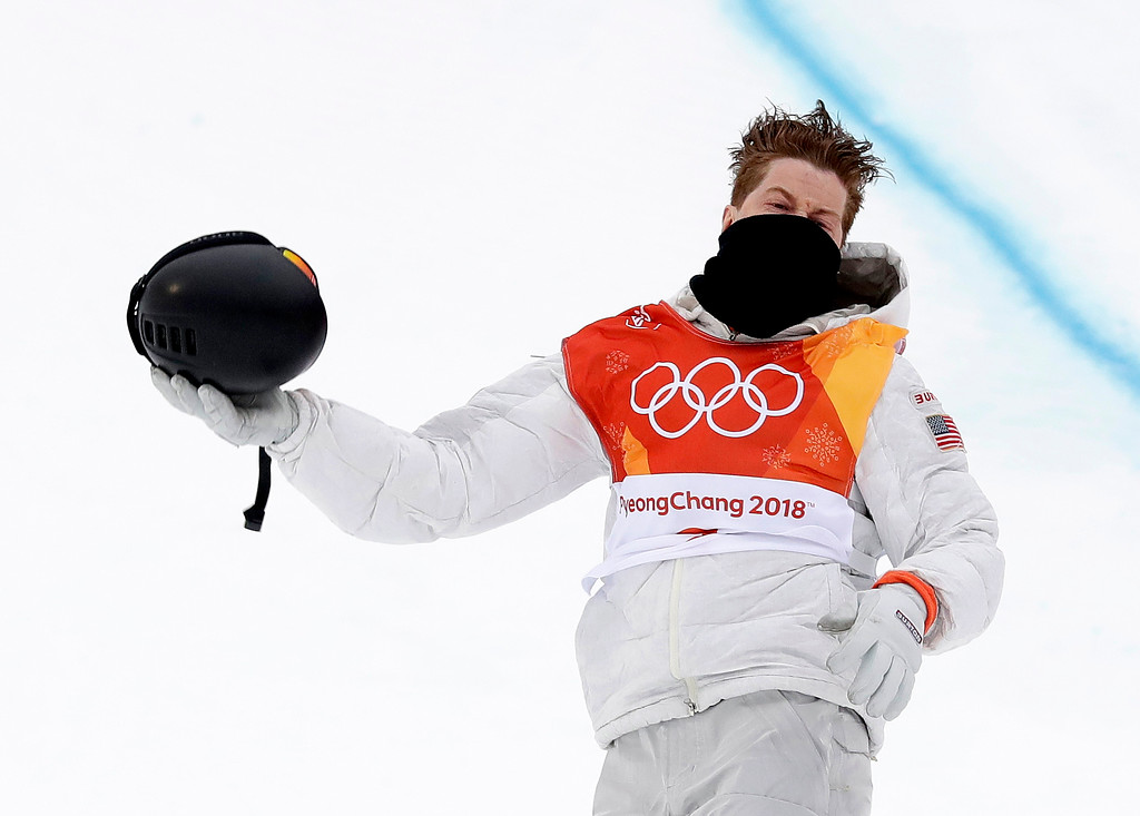 . Shaun White, of the United States, reacts after his run during the men\'s halfpipe finals at Phoenix Snow Park at the 2018 Winter Olympics in Pyeongchang, South Korea, Wednesday, Feb. 14, 2018. (AP Photo/Gregory Bull)