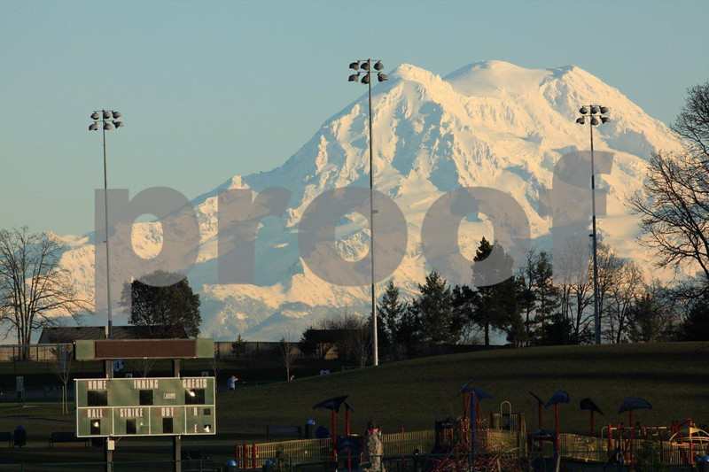 The view from the Thurston Regional Atheletic Complex in Lacey, WA to Mt. Rainier.