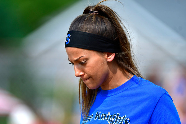6/1/2019 Mike Orazzi | Staff Southington Softball Coach Davina Hernandez during the Class LL Quarterfinal softball game with Ridgefield at Southington High School on Saturday. ?