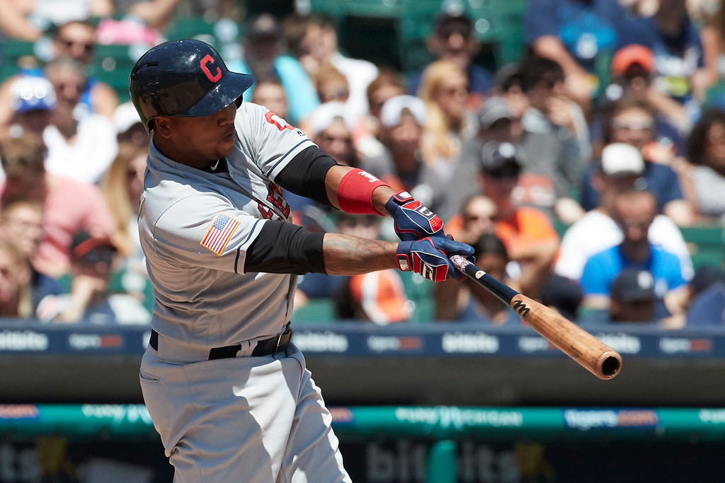 . Cleveland Indians Jose Ramirez hits a three run home run against the Detroit Tigers in the fourth inning of a baseball game in Detroit, Sunday, July 2, 2017. (AP Photo/Rick Osentoski)