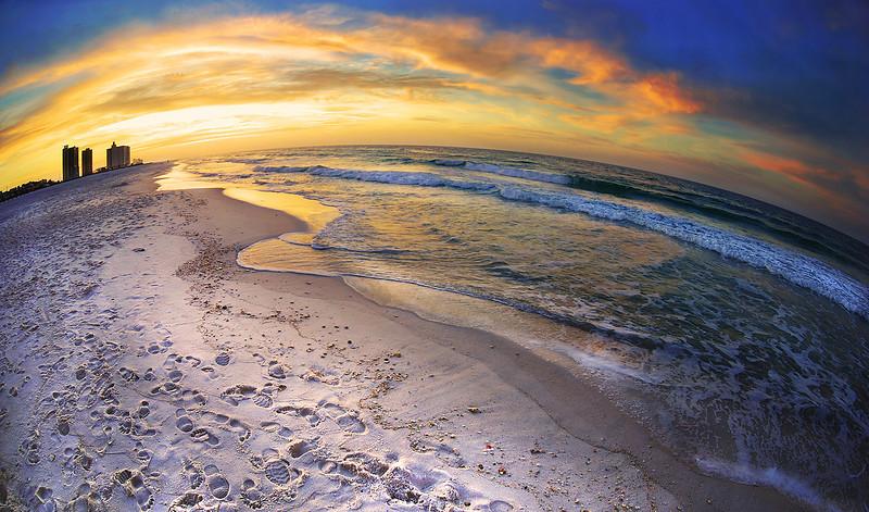 Beach World Sunrise Pensacola Beach  Nikon D80 w/Nikkor 10.5 fisheye (f3.5, 1/80 sec, ISO 100) w/tripod