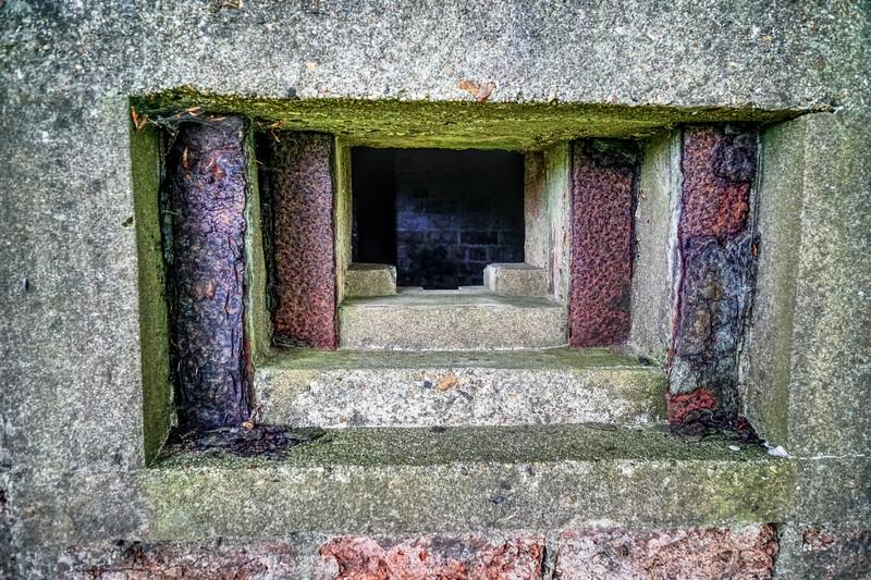 Pillbox on Hackhurst Down - Detail of Loophole