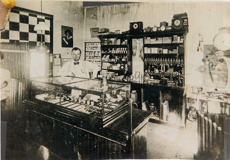 Coyt Robinson in his jewelry shop in Brick Row. Circa 1918. Although he was 10 years younger, Coyt was BC Robinson's uncle. Coyt was the youngest of 15 children!