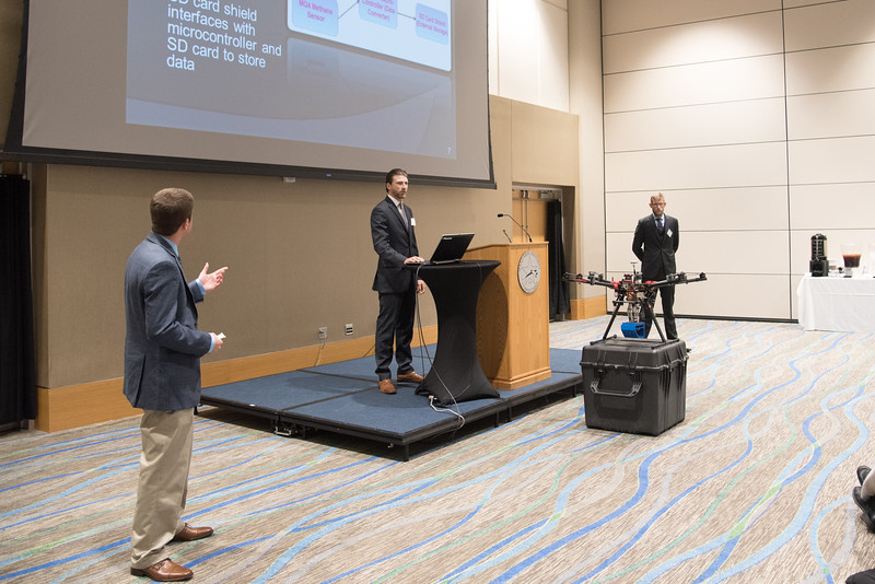 Sean Whetstone(left) Aaron Johnson and Mike Rink present their Mass Vapor Detection capstone design project.More photos: https://flic.kr/s/aHskzVXGyU