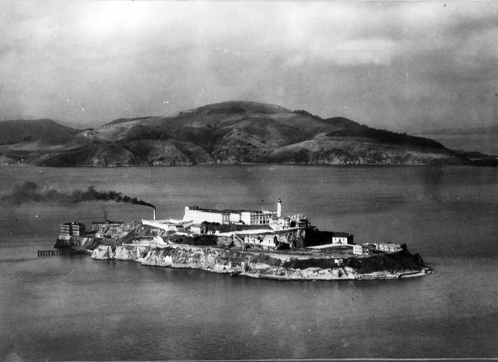 """. Alcatraz Island in October 1933 when the army disciplinary barracks were transferred by the War Department to the Attorney General\'s office for a federal penitentiary for harden criminals and \""""rebellious inmates\"""" of other federal prisons. (AP Photo/Tribune archives)"""