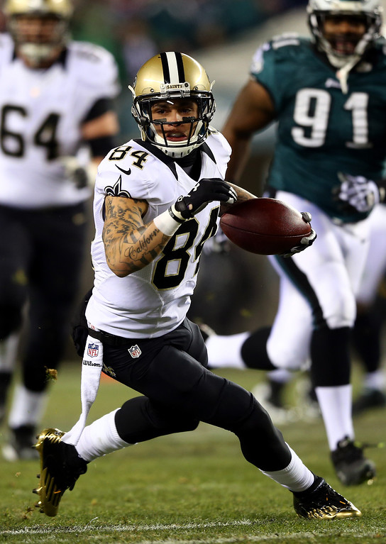 . PHILADELPHIA, PA - JANUARY 04:   Kenny Stills #84 of the New Orleans Saints catches a pass in the first quarter against the Philadelphia Eagles during their NFC Wild Card Playoff game at Lincoln Financial Field on January 4, 2014 in Philadelphia, Pennsylvania.  (Photo by Elsa/Getty Images)