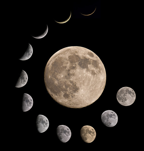 This montage has taken me a year to complete. Amazing how patient one has to be for the right phase and clear skies. Perigee moon in centre