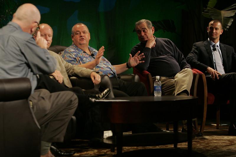 """FiReStarters I"": (L-R) Moderator Steve Evans, BBC; Tim Johnson, High Throughput Genomics; Bill Spencer, Hawaii Oceanic Technology; Mike Gering, Global Solar Energy; and Roy Schoenberg, American Well Systems"