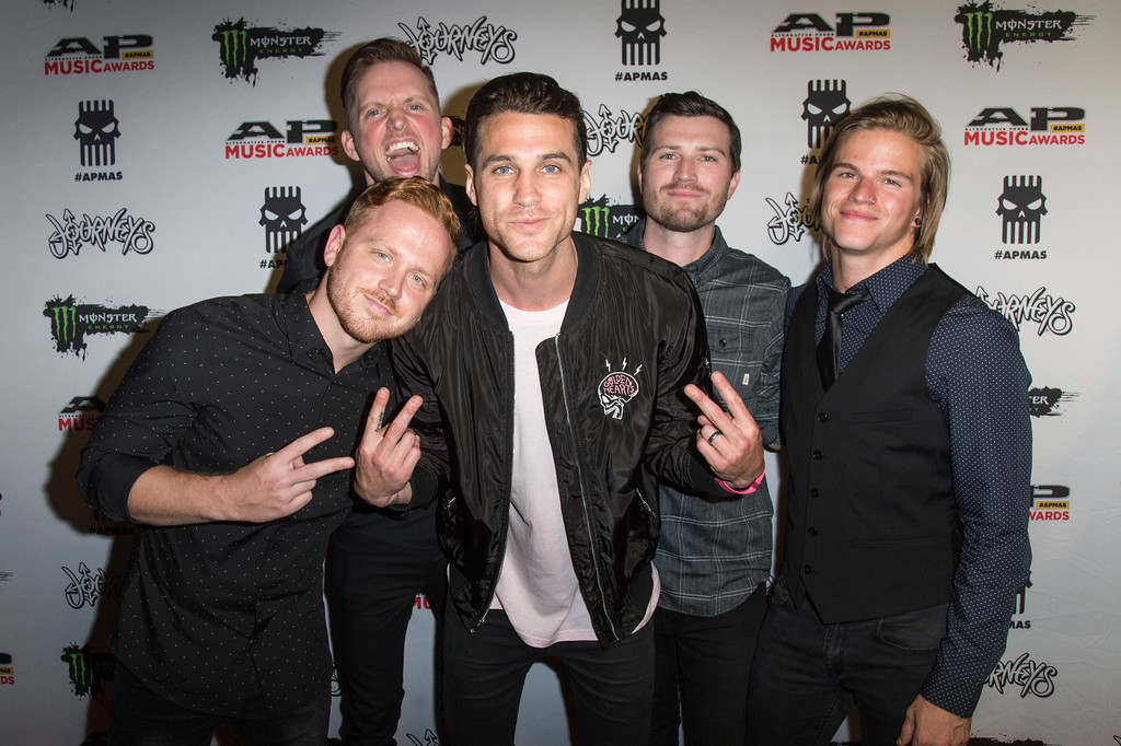 . Eric Lambert, from left, Jared Warth, Beau Bokan, Matt Traynor and Elliott Gruenberg of blessthefall seen at 2017 Alternative Press Music Awards at the KeyBank State Theatre on Monday, July 17, 2017, in Cleveland. (Photo by Amy Harris/Invision/AP)