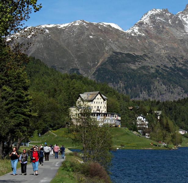 Resort on the shores of Lake St. Moritz.
