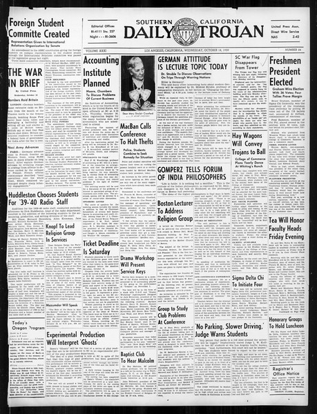 Daily Trojan, Vol. 31, No. 24, October 18, 1939