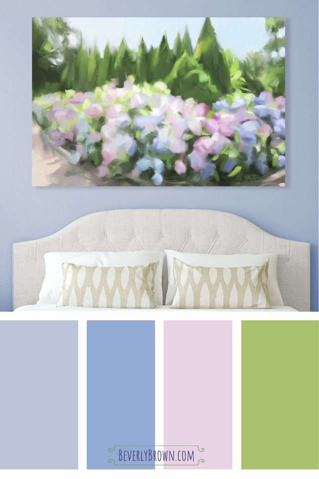 Periwinkle bedroom color scheme inspired by painting of hydrangeas by Beverly Brown