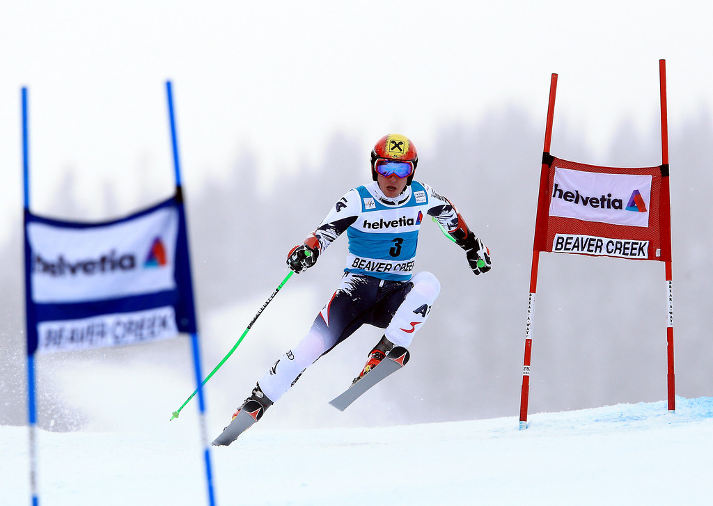 . Marcel Hirscher of Austria in action during the 2013 Audi FIS Beaver Creek World Cup Men\'s Giant Slalom race on December 8, 2013 in Beaver Creek, Colorado.  (Photo by Doug Pensinger/Getty Images)