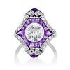 2.27ct (est) Art Deco Old European Cut Diamond with Amethyst Halo Ring 0