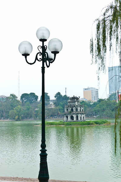 Thap Rua, or Tortoise Tower, is a three-story pagoda located in the middle of Hoàn Kiếm Lake. It was built in the 18th century, and is one of the most recognized landmarks in Hanoi.