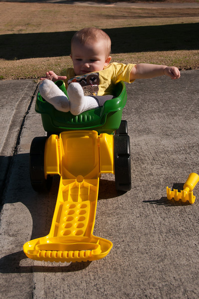 1 Year Photo - Riding in John Deere Wagon from Daddy