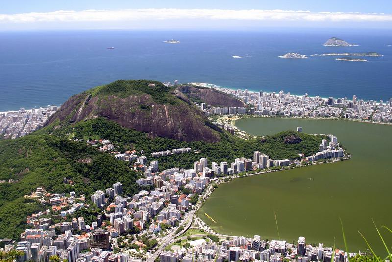 From the Corcovado, Copacabana beach on the left and Ipanema on the right, with Lago Rodrigo de Freitas . 2004