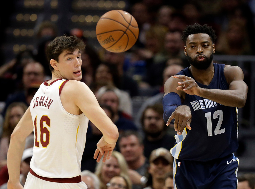 . Memphis Grizzlies\' Tyreke Evans (12) passes against Cleveland Cavaliers\' Jose Calderon (81), from Spain, in the first half of an NBA basketball game, Saturday, Dec. 2, 2017, in Cleveland. (AP Photo/Tony Dejak)