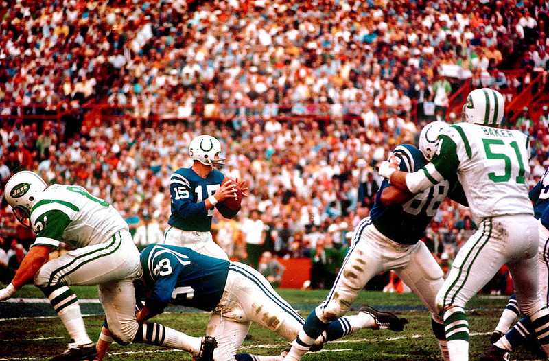 . Baltimore Colts quarterback Earl Morrall (15) looks for a receiver down field during Superbowl III Jan.12,1969  between the Colts and Jets in Miami, Fla. (AP Photo)