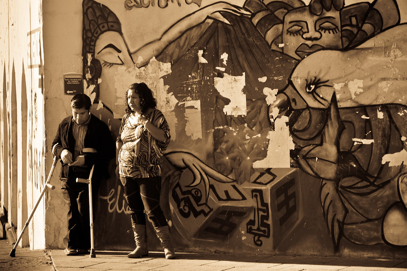 Striking composition, lighting and atmosphere in this street life scene at Puebla.