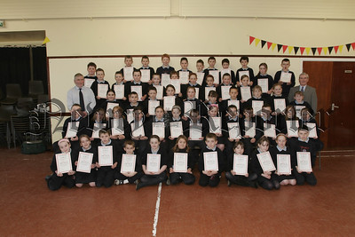 Newry Lions Club Sponsored Swim certificates presented by Mr Tony O' Hare to St Malachys PS pupils, primary 6 and 7 classes. 07W8N8