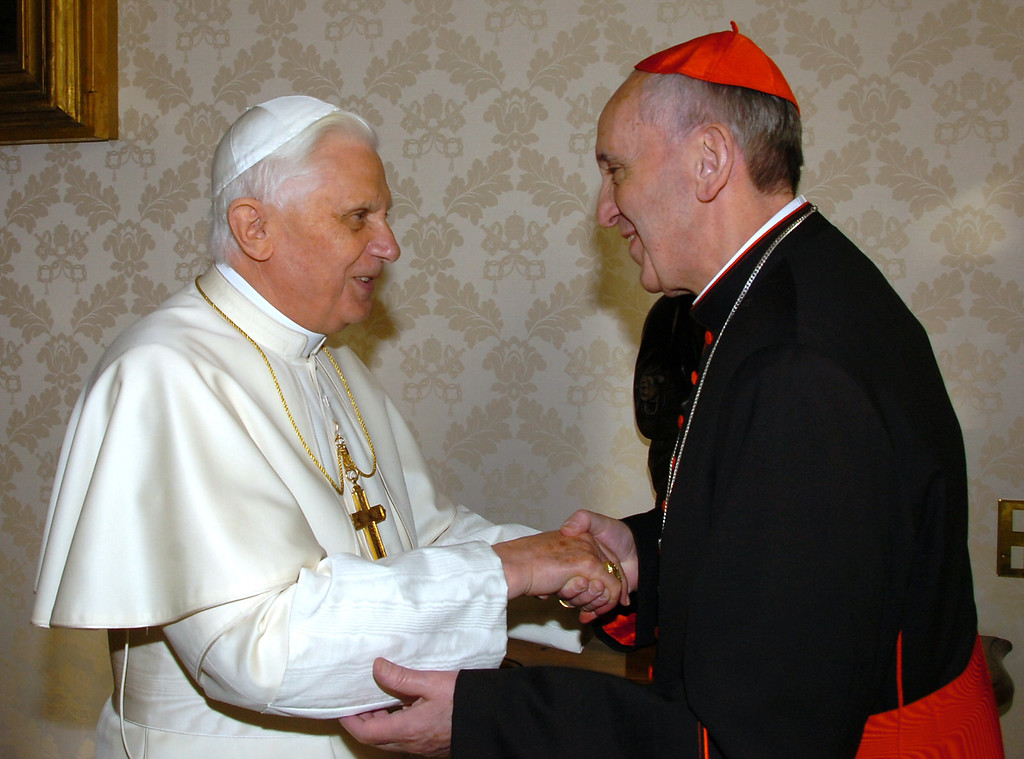 . A file picture taken on January 13, 2007 at the Vatican shows Pope Benedict XVI (L) meeting the archbishop of Buenos Aires Cardinal Jorge Mario Bergoglio, who has been elected on March 13, 2013 to replace the frail Benedict XVI as leader of the world\'s 1.2 billon Catholics as tens of thousands cheer in St Peter\'s Square.  ARTURO MARI/OSSERVATORE ROMANO/AFP/Getty Images