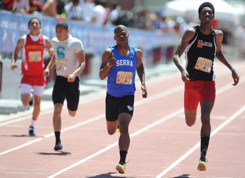 . Ronny Hall of Serra (Gardena) finished second in the 400 meter dash invitational high school during the Mt. SAC Relays in Hilmer Lodge Stadium on the campus of Mt. San Antonio College on Saturday, April 20, 2012 in Walnut, Calif.    (Keith Birmingham/Pasadena Star-News)