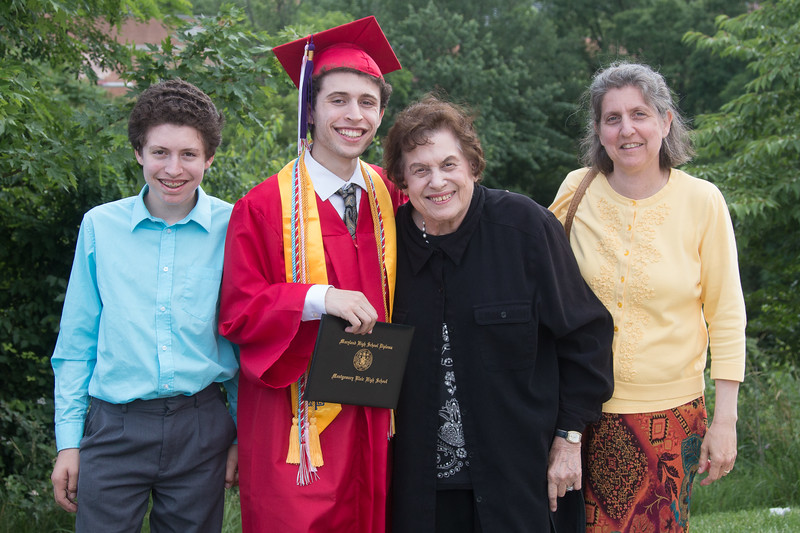 Rafael, Noah, Grandma Elaine, & Sheryl -- Noah Friedlander - June 6, 2017 graduation from Montgomery Blair High School - Magnet Program for Math, Science, and Computer Science, Xfinity Center, University of Maryland, College Park.