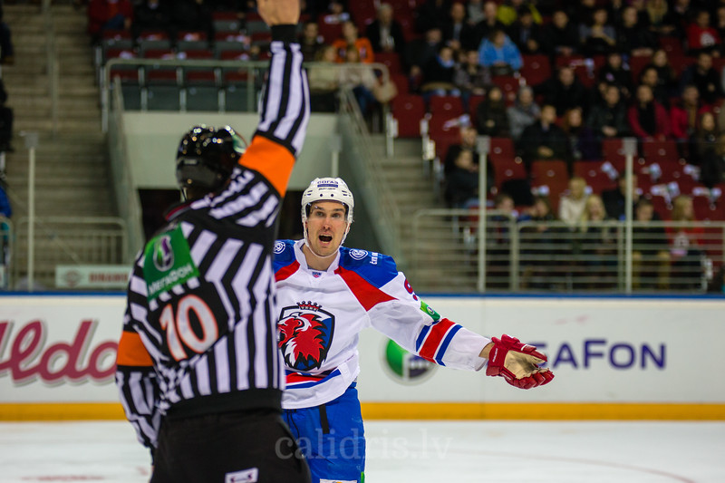 Sami Lepisto (95) reacts about penalty during KHL regular championship game between Dinamo Riga and Lev Praha in Arena Riga