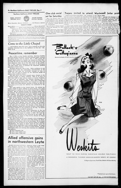 Daily Trojan, Vol. 36, No. 22, December 07, 1944