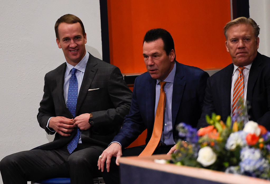 . ENGLEWOOD, CO - MARCH 07: Peyton Manning smiles as he sit down before the start of his press conference. The Denver Broncos hold a press conference to announce the retirement of Denver Broncos quarterback Peyton Manning March 7, 2016 at UCHealth Training Center. (Photo By John Leyba/The Denver Post)