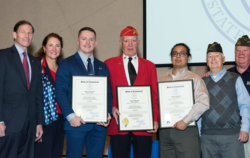 11/12/18  Wesley Bunnell | Staff  CCSU held a Veterans Day Observance on Monday afternoon in Alumni Hall which featured honoring three local veterans.  Senator Richard Blumenthal, Congresswoman Elizabeth Esty, Honoree Joshua Barnett, Honoree Jack Truhan, Honoree Mike Curiel.