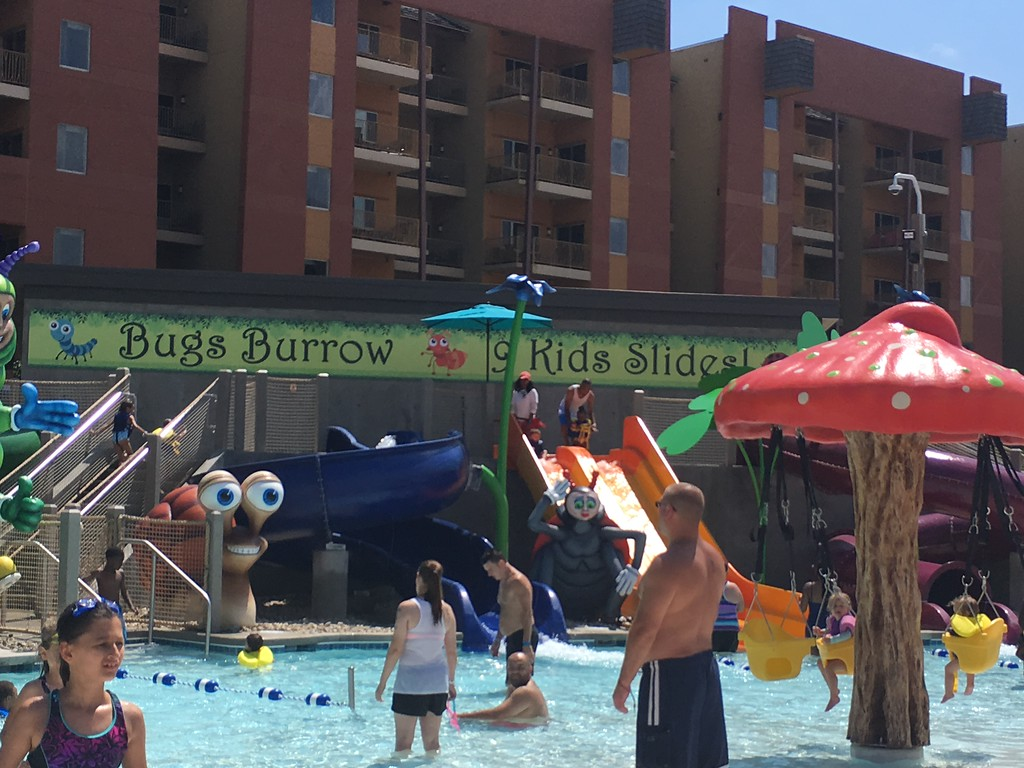 . Kevin Martin � The Morning Journal <br> Kalahari Resorts and Conventions\' new outdoor water park addition Bugs Burrow. The nine slides and  colorful character were designed by Kalahari\'s in-house theme shop.