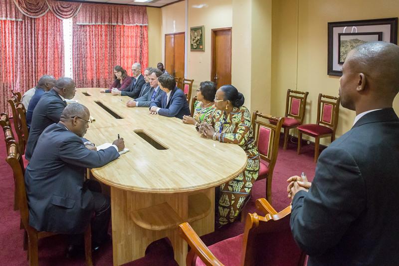 Monrovia, Liberia October 12, 2017 -  The Carter Center leadership team with Presidential office staff wait for Liberian President Ellen Johnson Sirleaf.