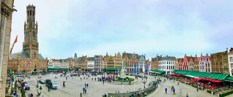 The medieval Belfort Tower looming over Markt Square. This center of Bruges dates back to the 1300s .