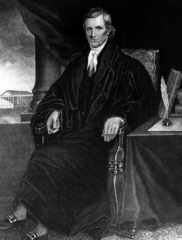 . A portrait by Alonzo Chappel of Chief Justice John Marshall, who headed the U.S. Supreme Court from 1801 to 1835.  (AP Photo)