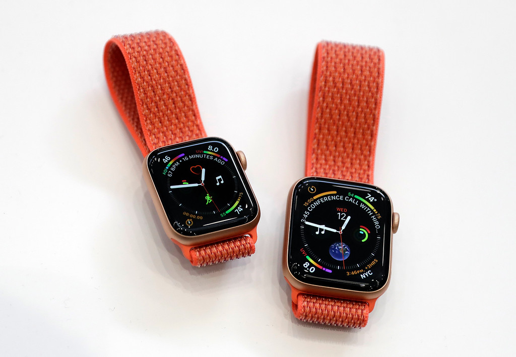 . Apple watches are displayed during an event to announce new products at Apple Headquarters Wednesday, Sept. 12, 2018, in Cupertino, Calif. (AP Photo/Marcio Jose Sanchez)