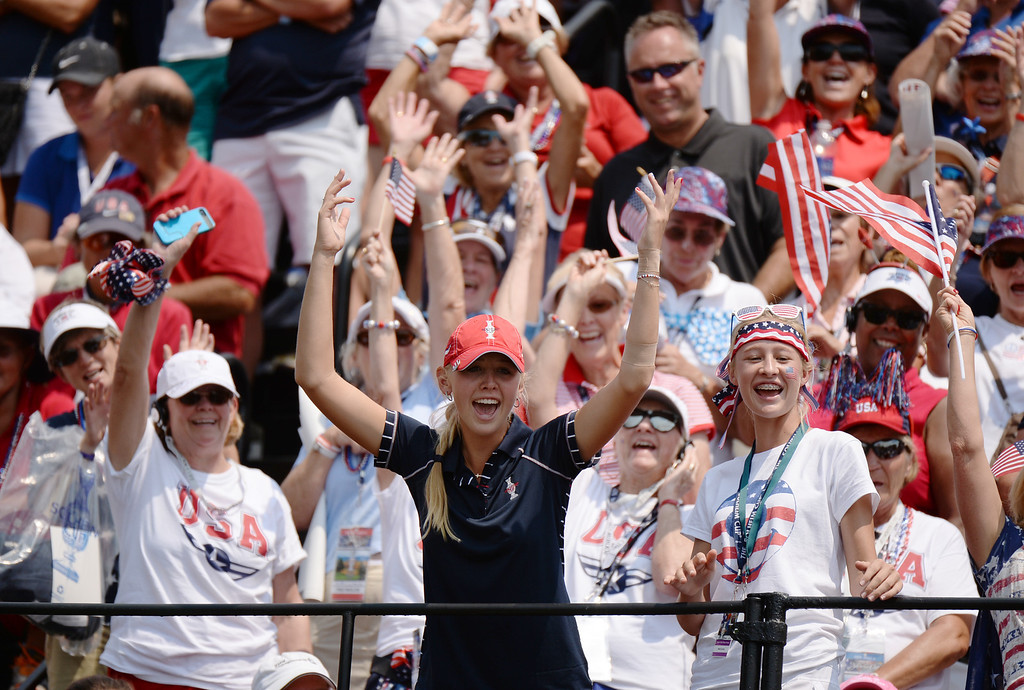 . PARKER, CO. - August 16: Jessica Korda of team USA, front, cheer her teammates by 1st tee ground during 2013 Solheim Cup at Colorado Golf Club. Parker, Colorado. August 16, 2013. (Photo By Hyoung Chang/The Denver Post)