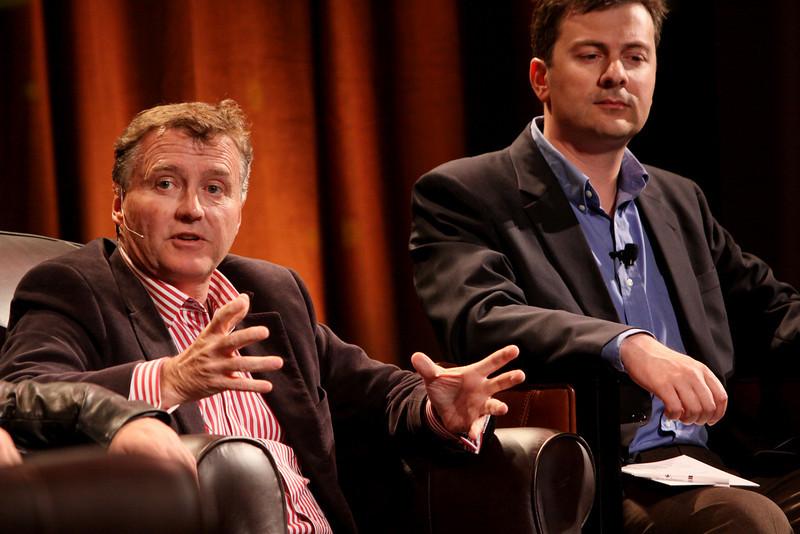 """Australia's Role As Asia Rises"": Chris Hancock (L), CEO, AARNet; and Adrian Turner, CEO, Mocana"