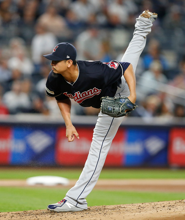 . Cleveland Indians pitcher Carlos Carrasco delivers against the New York Yankees during the second inning in Game 3 of baseball\'s American League Division Series, Sunday, Oct. 8, 2017, in New York. (AP Photo/Kathy Willens)