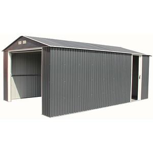 Imperial Metal Garage Dark Gray with White Trim 12x32