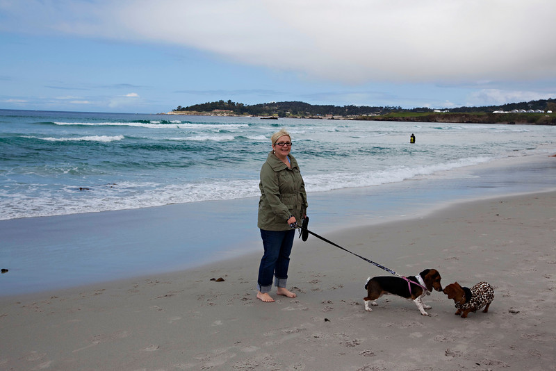 Autumn and Suki at the beach in Carmel