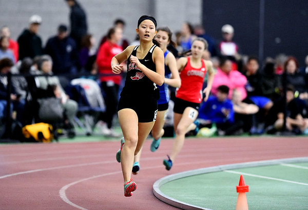 2/1/2020 Mike Orazzi | StaffrEO Smith's Sarah Cao in the 600 meter run during the CCC Indoor Track & Field Championships at the Floyd Little Athletic Center in New Haven on Saturday.