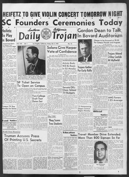 Daily Trojan, Vol. 43, No. 15, October 05, 1951