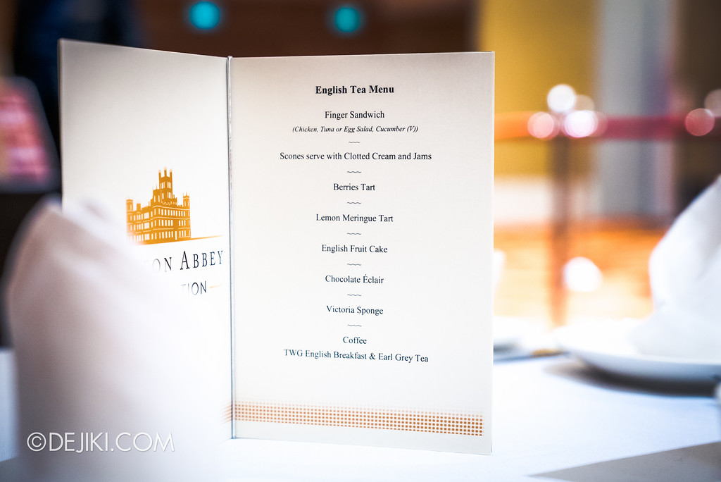 Downton Abbey The Exhibition - English Tea Menu