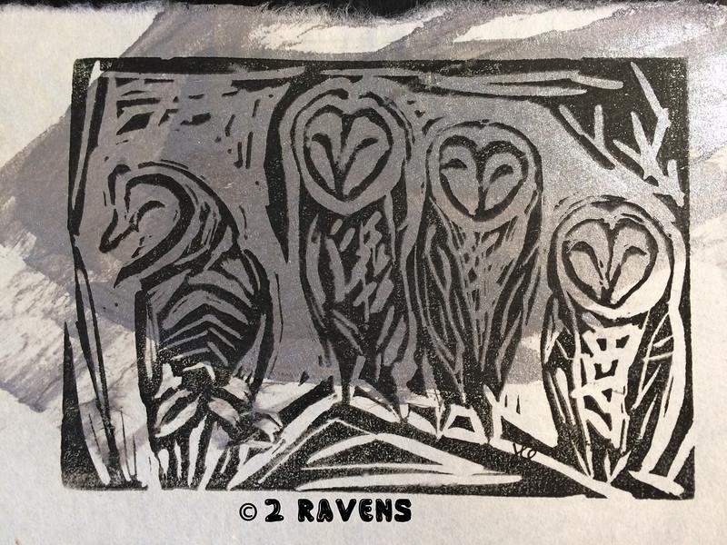 'silver' barn owl block print on rice paper