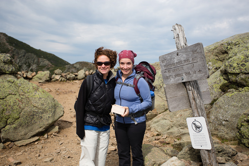Hiking up Falling Waters trail to the summit of Little Haystack to spread Wilfred Bergeron's ashes.